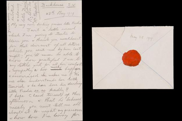 Also going to auction is a handwritten love letter from Prince Edward of Wales, later Edward VIII, to his mistress, Mrs Freda Dudley Ward with an envelope bearing his red wax seal.