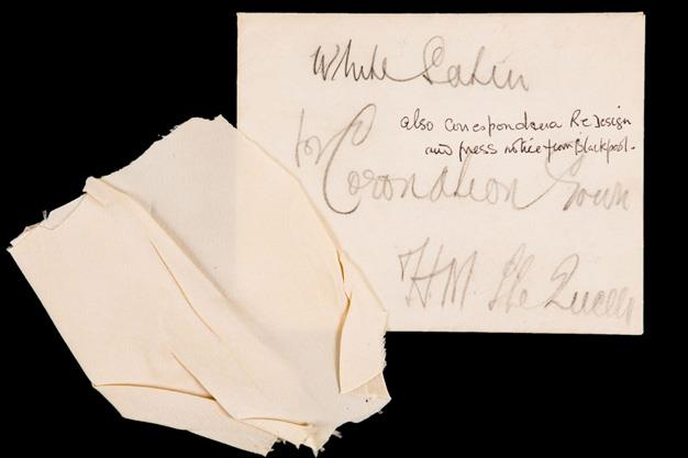 A sample of white satin for the coronation gown of Queen Elizabeth the Queen mother, included in a letter to the Royal Dress Maker, Madame Handley Seymour regarding the making of the gown.