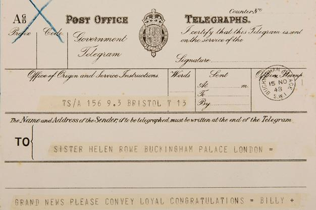 Telegram sent to the Royal Midwife, Sister Helen Rowe after she delivered Prince William on November 14 1948.