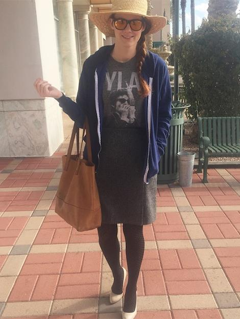 Day 1: Day One of Rockwell's fashion picks included a cool Bob Dylan tee, paired with a pencil skirt and tights – a choice that Summer loved. Then Rockwell, without hesitating, added nude pumps, a blue hoodie and a straw hat.