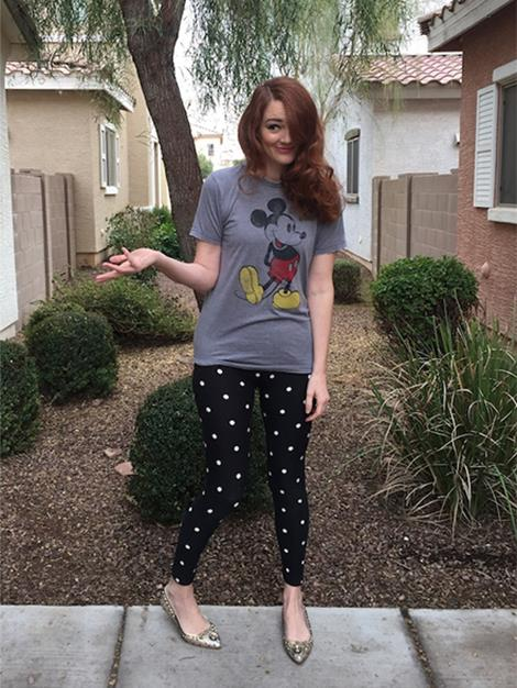 Day 2: Day Two saw Summer decked out in her Mickey Mouse pyjama tee and polka dot leggings, and don't forget glittery flats!