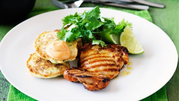 [Grilled chicken and corn fritters](http://www.aww.com.au/food/recipes/2012/3/grilled-chicken-and-corn-fritters).