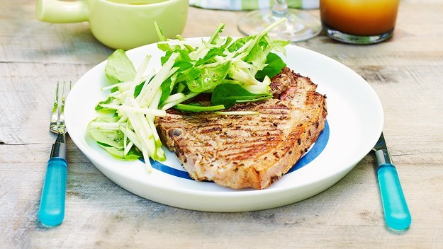 [Pork chops with fennel salt and apple salad](http://www.aww.com.au/food/recipes/2012/1/pork-chops-with-fennel-salt-and-apple-salad).