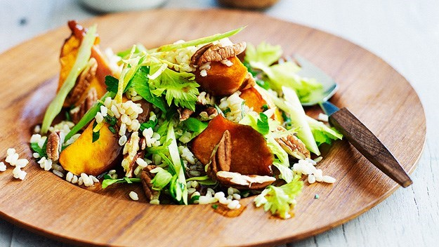 [Brown rice and roast pumpkin salad.](http://www.aww.com.au/food/recipes/2012/1/brown-rice-and-roast-pumpkin-salad)