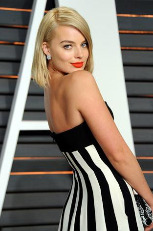 Margot Robbie changed into this black and white striped number.