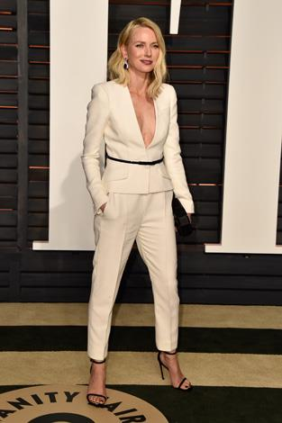 Naomi Watts changed into a white-hot suit for the after-party.