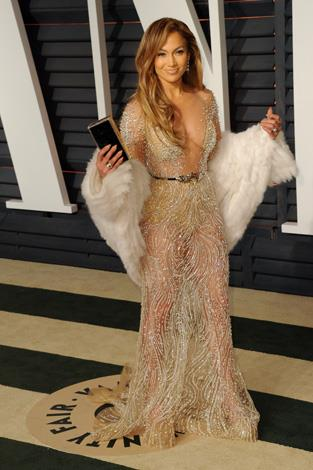 Jennifer Lopez was a vision in this sheer metallic number.