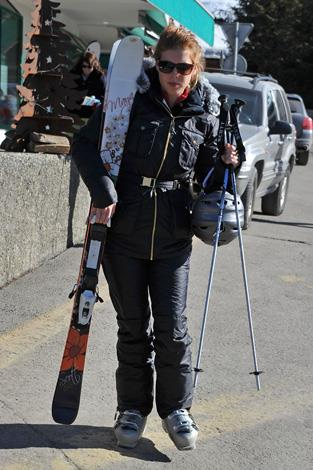 Princess Beatrice hauls her skis on a holiday in royal favourite Verbier in Switzerland.