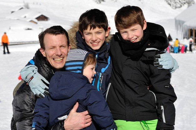 Prince Joachim of Denmark, Prince Henrik of Denmark, Prince Nikolai of Denmark and Prince Felix of Denmark couldn't be happier on a 2013 family holiday.