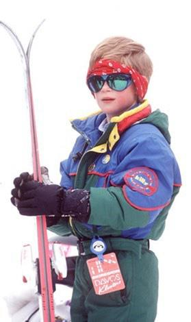 Prince Harry pulls off the rather tricky headband, ski suit and bandanna with aplomb on a skiing holiday in Lech, Austria, in 1994.