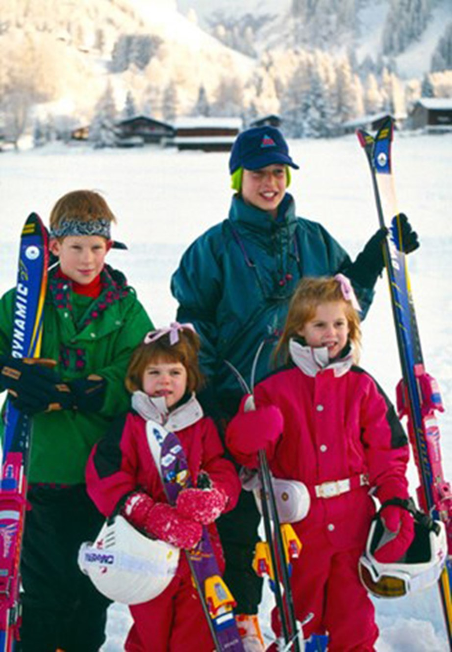 Just in case you needed more proof that Eugenie loves the snow, here's a cute pic of her and her sister Beatrice with their cousins Prince William and Prince Harry in 1995, just before her fourth birthday. *(Image: Getty)*