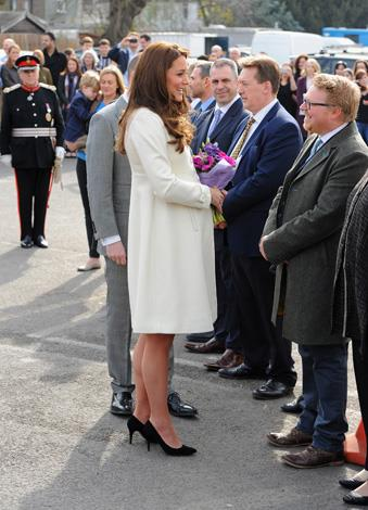 The pregnant royal spoke to cast and crew members as she walked onto the set.