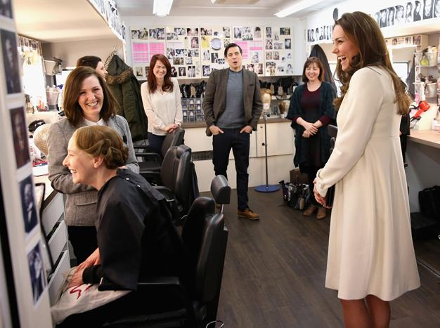 Kate laughed with actress Phyllis Logan, who plays Mrs Hughes, as she was made up by Nic Collins in hair and make up.