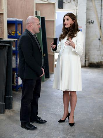 The Duchess of Cambridge spoke to crew members in the set-construction department on her visit to Ealing Studios.