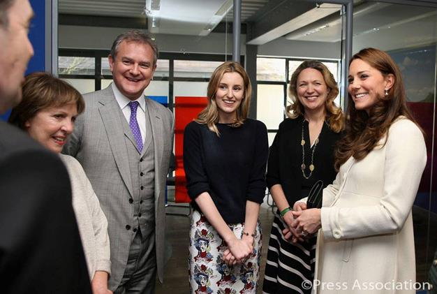 Kate chatted to cast members Penelope Wilton, Hugh Bonneville and Laura Carmichael during the visit.