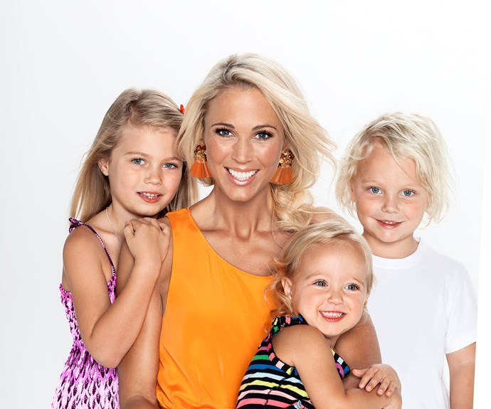 Bec Hewitt with her daughters Ava and Mia.