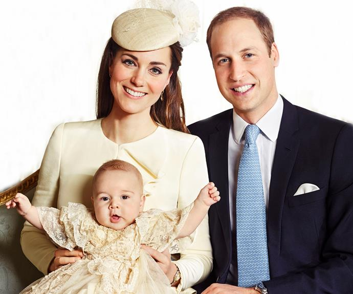 Prince George of Cambridge with Kate Middleton and Prince William