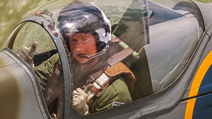 Prince Harry in spitfire plane