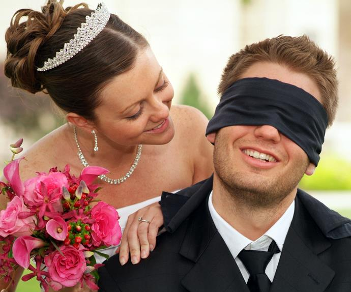 blindfolded man and wife getty images