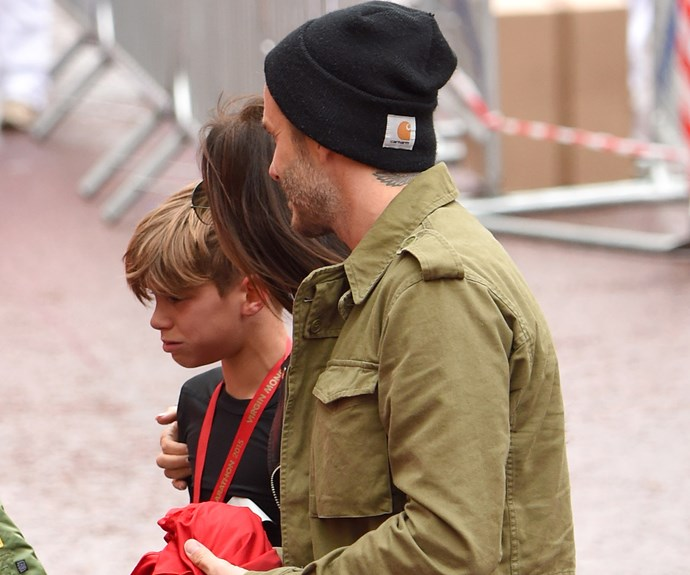 Team Romeo: the Beckhams support teary Romeo after race
