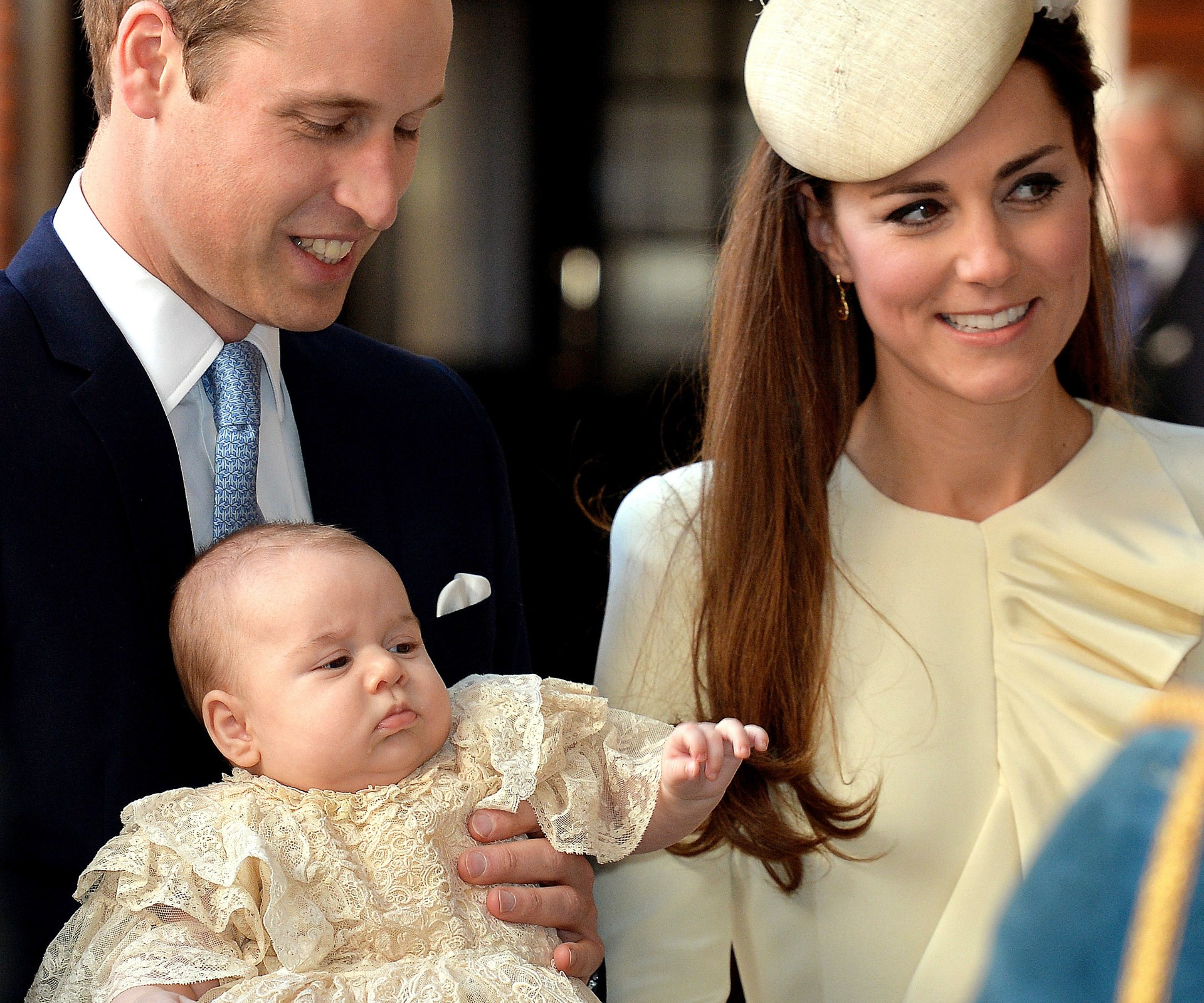 Charlotte's big brother George at his christening. Charlotte wore the same lace robe.