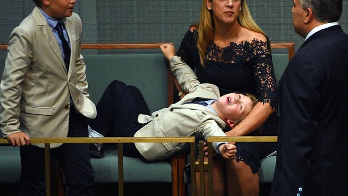 Joe Hockey's kids steal spotlight on Budget night