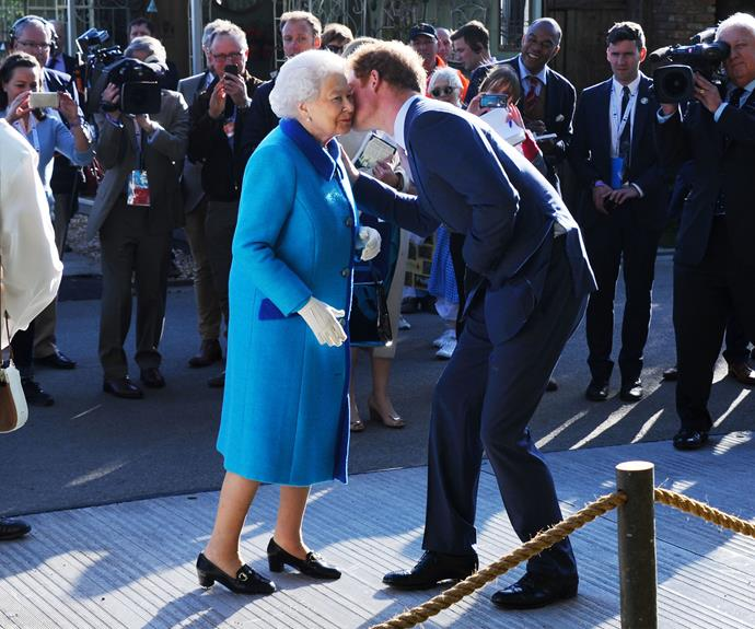 Prince Harry greeted the Queen upon his return to England.