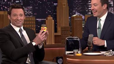Hugh Jackman teaches Jimmy Fallon how to really eat Vegemite