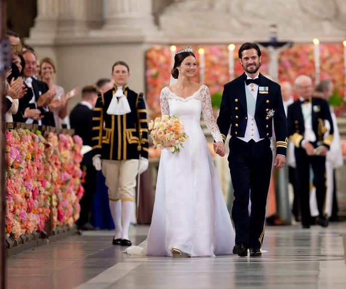 Sofia Hellqvist chose this lace gown with a full skirt for her wedding to Prince Carl Philip of Sweden earlier this year. She wore the dress with a brand new tiara given to her by her parents-in-law.