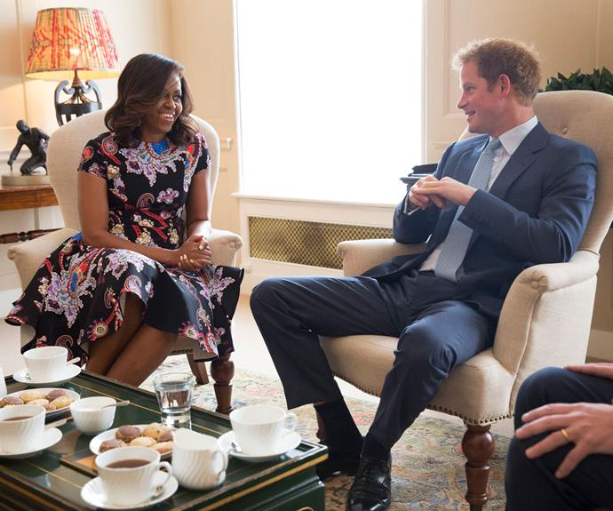 The First couple meet with Prince Harry in 2016.