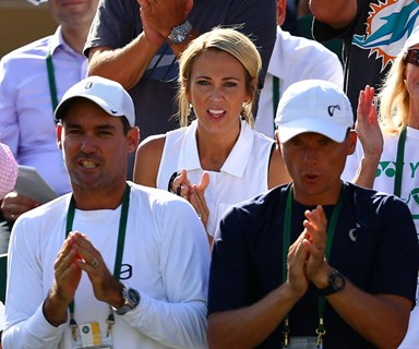 Bec Hewitt looks on as Lleyton bids farewell to Wimbledon