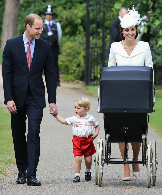 Oh George! You are a show stealer. The first picture of the Cambridge family together in public.