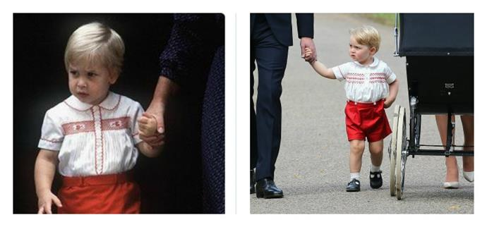 George wore a very similar outfit to the one William wore as a child.