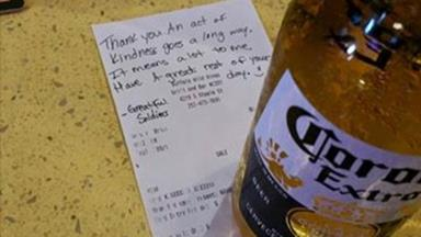 Beer on bar a touching tribute to fallen soldier