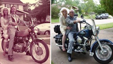 Couple recreates their wedding photos for 40th wedding anniversary