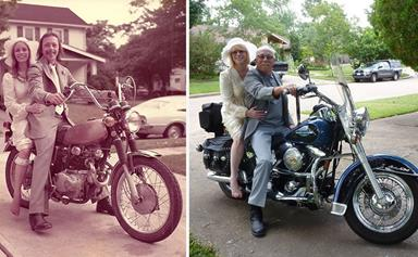 Couple recreates their wedding photos for 40th wedding anniversary