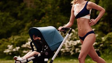Bikini model mum outrages pram fans