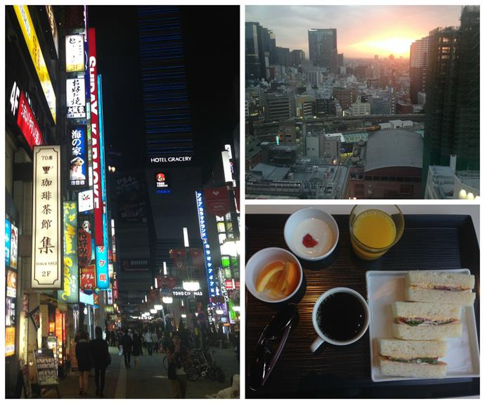 (Clockwise from left) Hotel Gracey in Shinjuku, Tokyo; The view from our room; Breakfast at Bonjur.