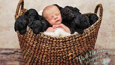 Puppies and baby born on same day pose for adorable photoshoot
