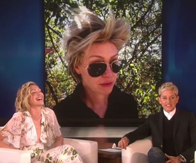 WATCH: Ellen DeGeneres embarrasses Portia de Rossi with bad hair photos
