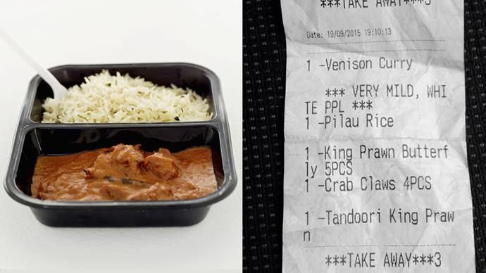 Restaurant-goer angered after discovering 'WHITE PPL' note on mild curry receipt