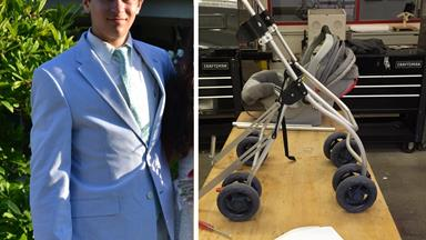High school student builds adaptable stroller for paraplegic mother