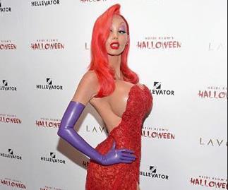 Heidi Klum unrecognisable in Jessica Rabbit Halloween costume