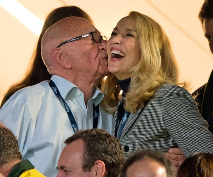 Rupert Murdoch shares kiss with Jerry Hall