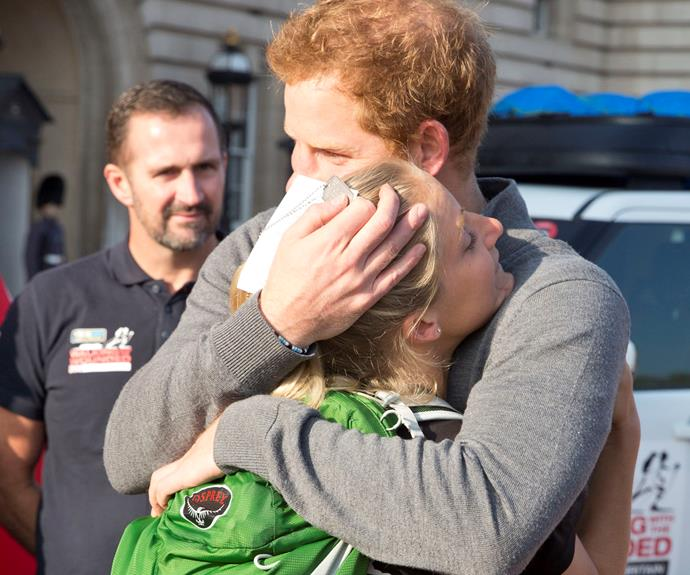Kirstie and Harry became friends through her work with the charity Walking with the Wounded – a 1,600km marathon trek around Britain.