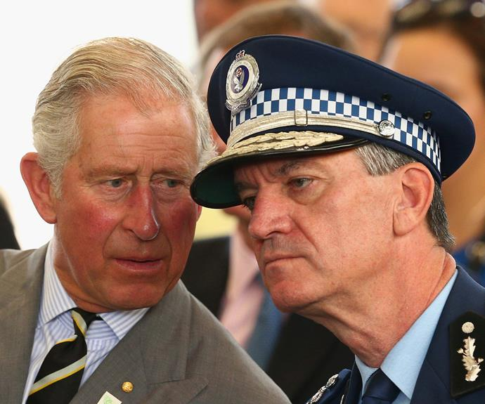 Prince Charles shares a word with NSW Police Commissioner Andrew Scipione.