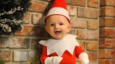 Dad turned his baby into an Elf on the Shelf