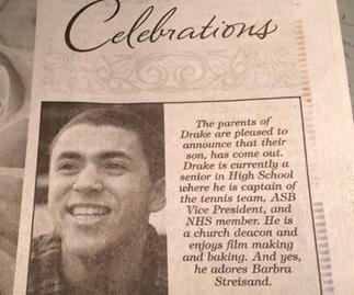 Parents take newspaper ad out to congratulate gay son on coming out