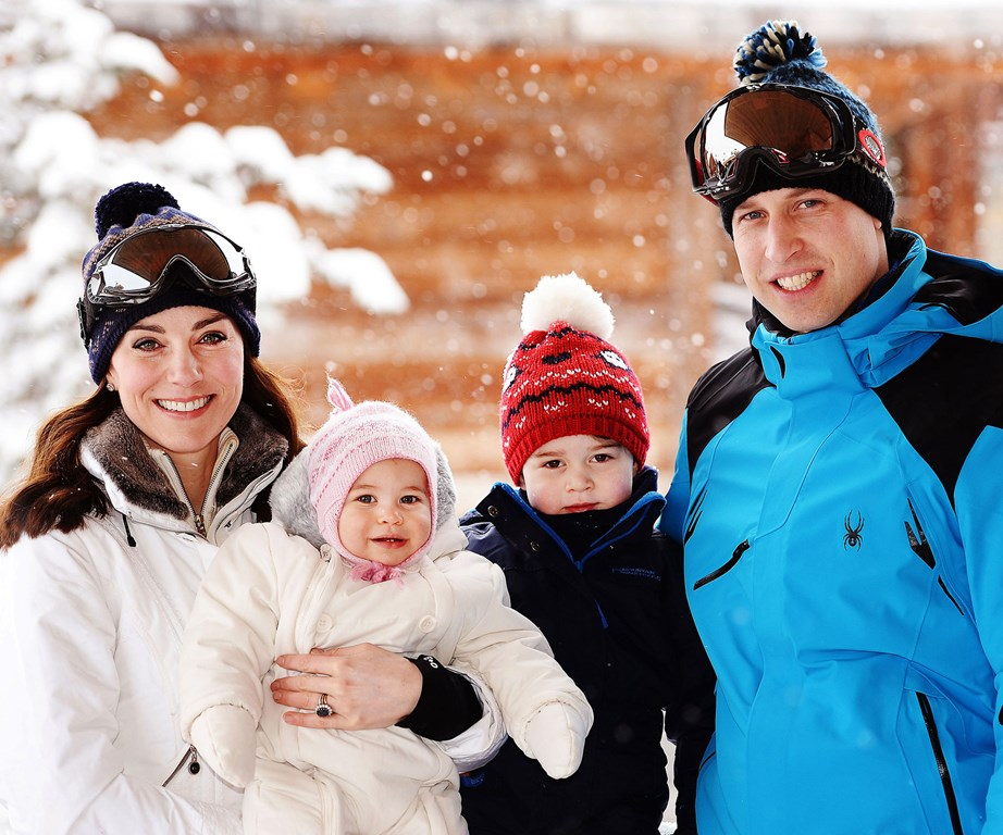 Adorable! A family portrait of the Cambridges in 2016 during their ski holiday to the French Alps. *(Image: Getty)*