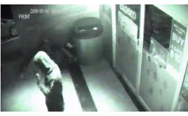 Ghostly figure walks through closed glass door